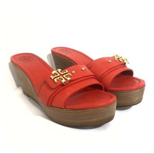 f7beed48a39e9 Tory Burch Shoes - Tory Burch Elina Mid Wedge Sandals Habanero Pepper